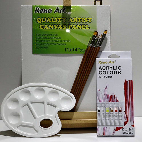 Painting Pack A: Table Box Easel + Arcylic Colours+ Canvas + Brushes + Palette