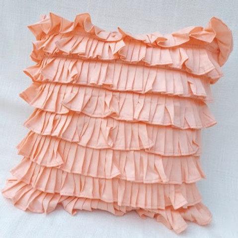Peach Ruffled Layer Cushion Cover