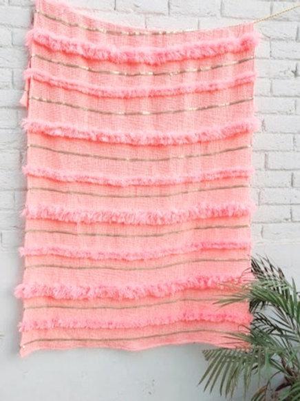 Moroccan Wedding Blanket  L-shaped Throw- Blush Pink