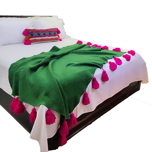 Green Michelle Bed Throw with Fuschia Tassel