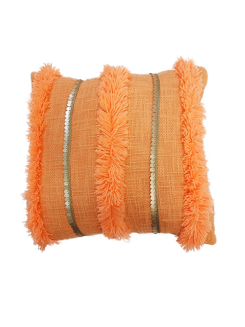 Tangerine Fringe and Sequence Cushion