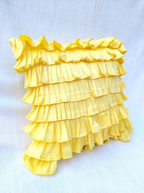 Yellow Ruffled Layer Cushion Cover