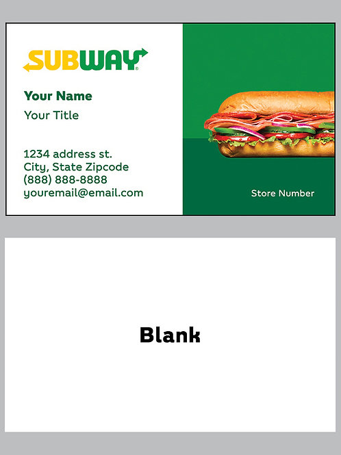 Subway Business Cards - Sample 9