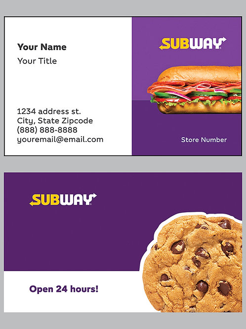 Subway Business Cards - Sample 13