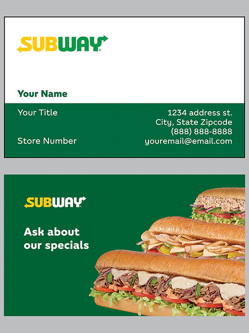 Subway Business Cards - Sample 6