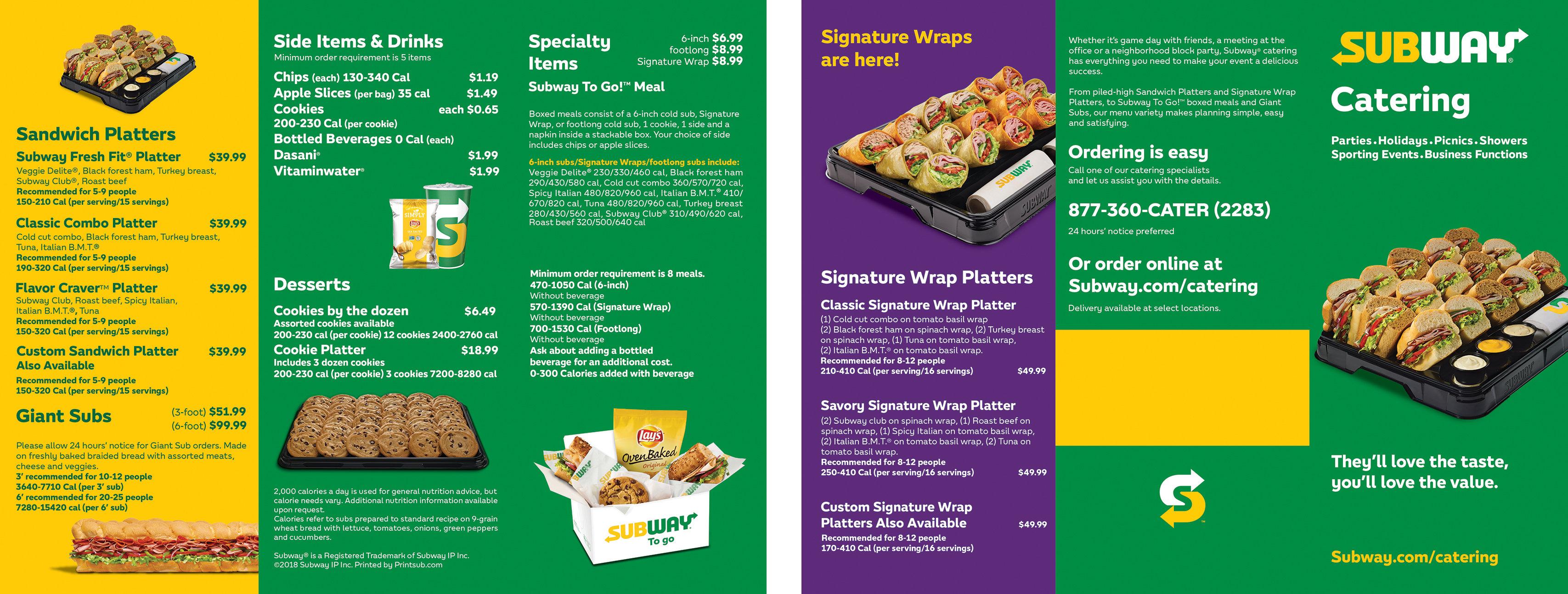 Subway Catering Menu Wrap Sample 2 Printsub