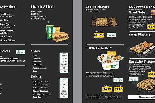 Subway Black Catering Menu + Wrap Sample 1