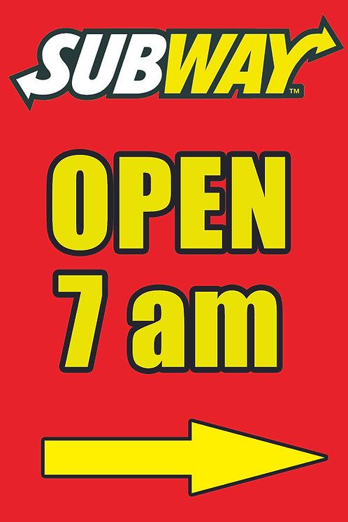 OPEN 7 AM - Window Poster