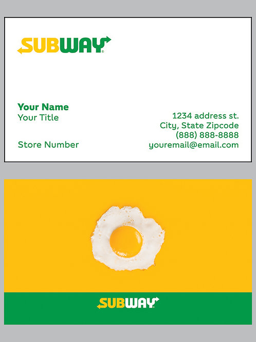 Subway Business Cards - Sample 1