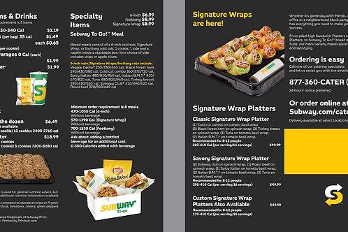 Subway Black Catering Menu + Wrap Sample 2
