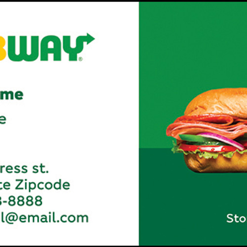Subway business cards business cards front sample 3 colourmoves