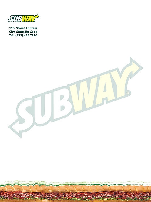 SUBWAY Letterheads