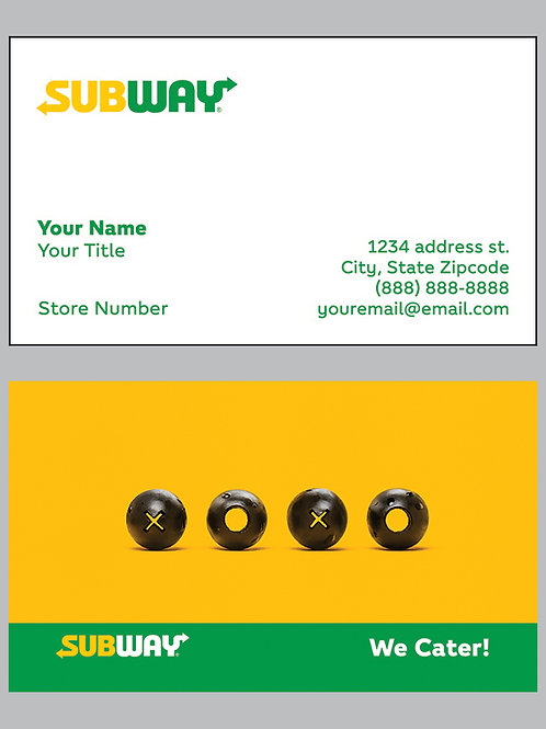 Subway Business Cards - Sample 3