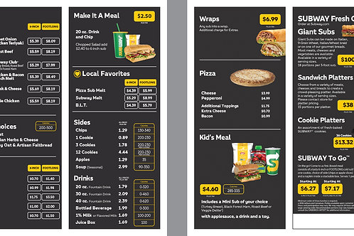 Subway Black Take Out Menu