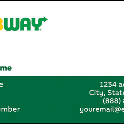 Subway business cards business cards front sample 2 colourmoves