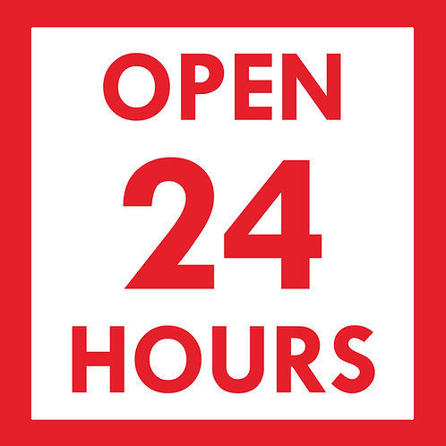 24 hour store front sign