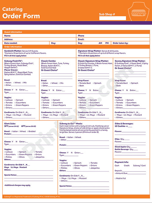 PS-SF-Catering Form