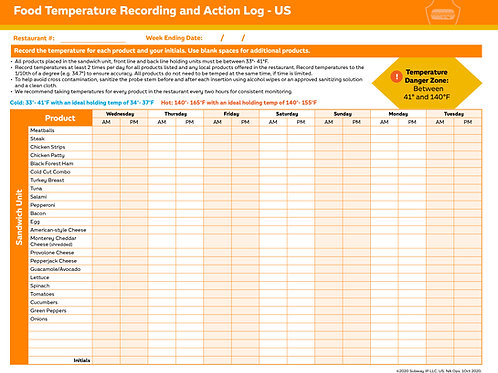 PS-SF-Food Safety Temperature Recording Log