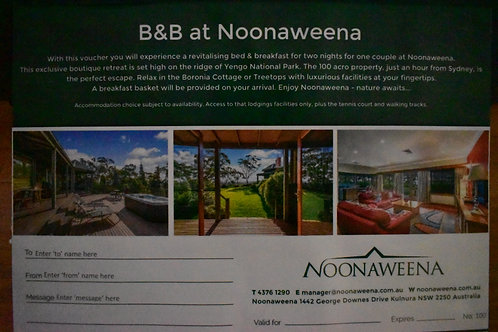 15 2 Nights, 2 persons, Noonaweena Tree Tops resort Kulnura, mid week VALUE $800
