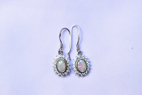 02 / 1x Opal Light Earrings in Stirling Silver with Cubic Zirconia VALUE $699