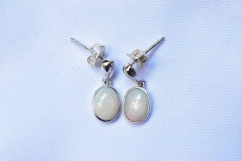 01 / 1x White Opal Earrings set in ST SILVER 1.3ct VALUE $1000