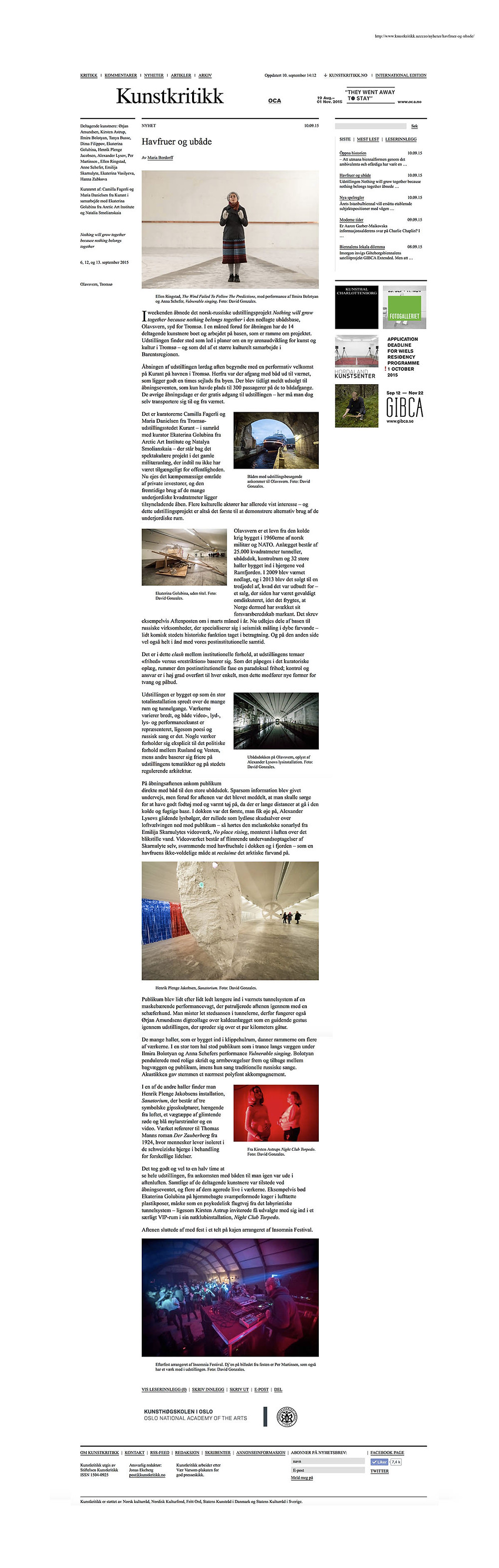 Maria Bordoff / Kunstkritikk.no 20150910 - Article about the exhibition 'Nothing Will Grow Together Because Nothing Belongs Together'