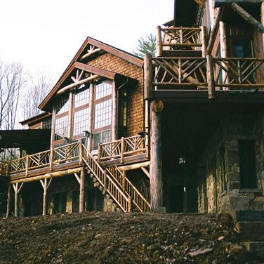 ext winter Adirondack Lodge Home wright