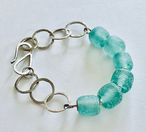 Bracelet with Sea Green Recycled Glass - £69