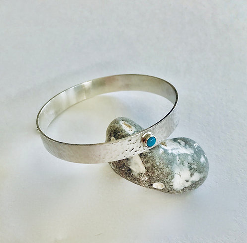 Wide Textured Silver Bangle with Turquoise - £85