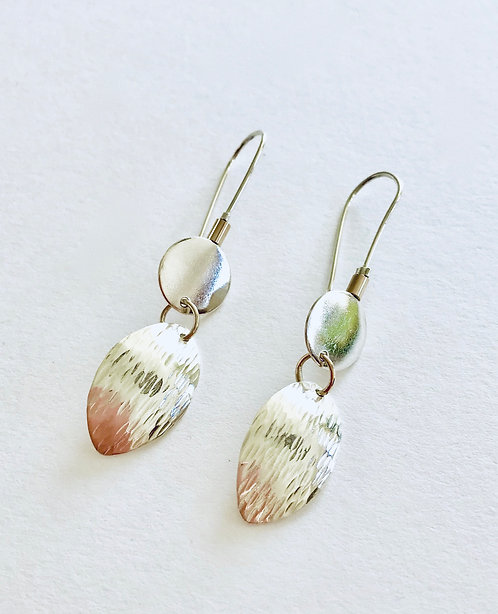 Textured Silver Earrings with 9ct Gold Links - £60