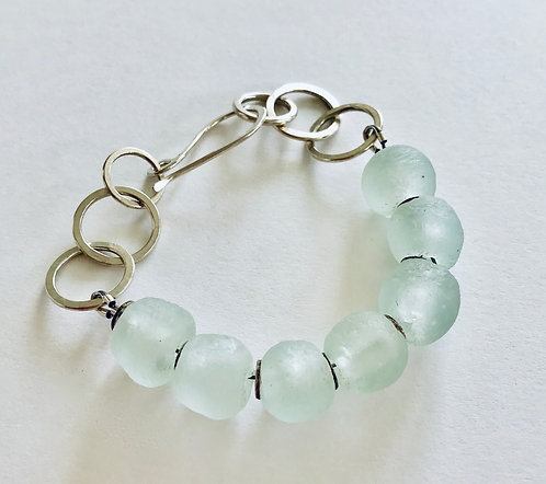 Frosted Recycled Glass Link Bracelet - £69