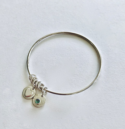 Silver Bangle with Heart and Gemstone Charms - £64