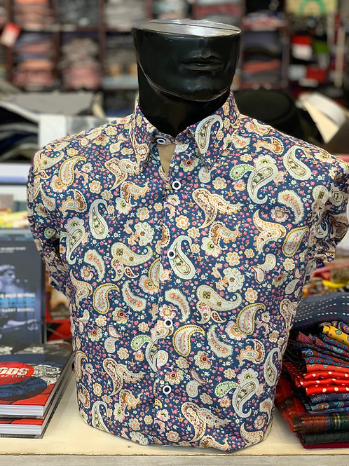 Gabicci Long Sleeve Paisley - Blue and Hay