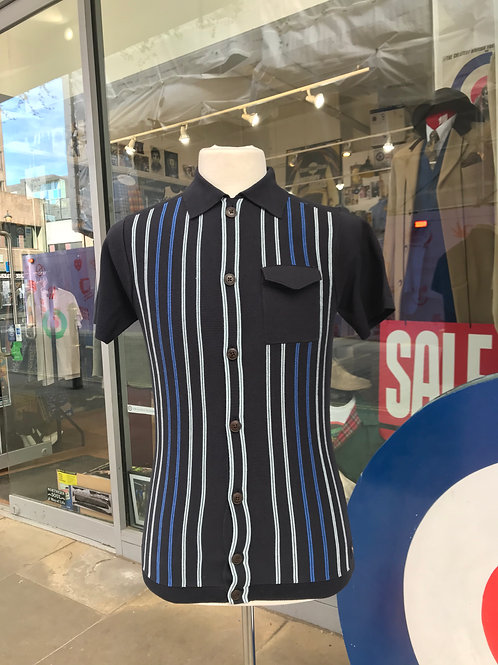 Gabicci Short Sleeved Button-up Polo - Navy with sky and blue vertile stripes