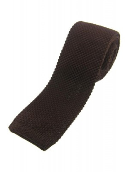 Brown Knitted Classic Tie