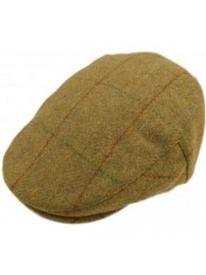 Window Pane Check Tweed Flat Cap - Green