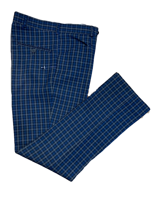Sherry's 'Marriot' check trousers - navy, grey, and midnight blue