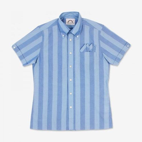 シルバーレイク/パレスブルーストライプトリムフィットシャツ