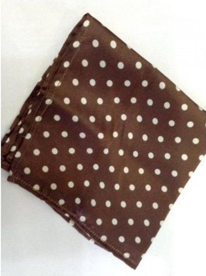 Sherrys Pure Silk Pocket Square Ivory/Brown Polka Dot