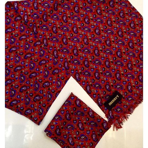 Sherrys Silk Scarf/Pocket Square Red/Blue floral