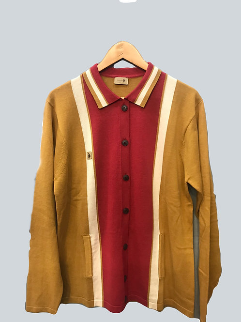 Gabicci Long sleeve button-up cardigan -Hay/Lava/Oat