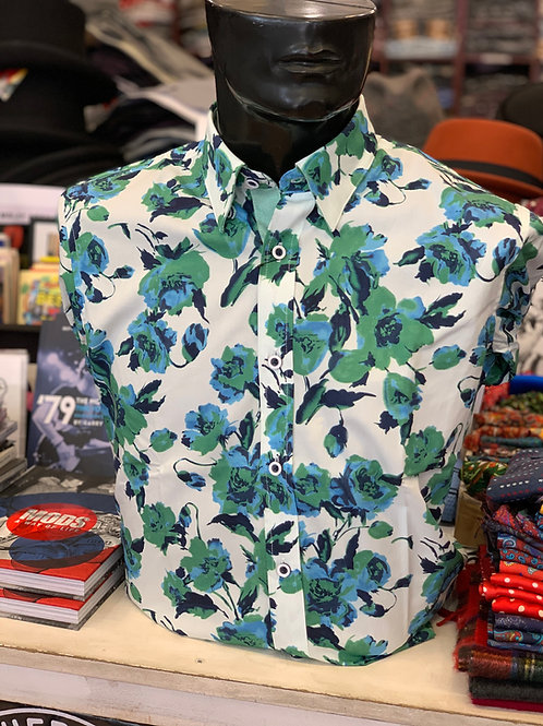 Gabicci Long Sleve Floral Shirt - Ecru and Elm