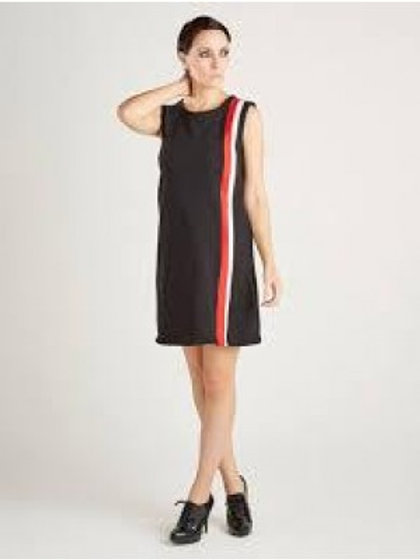 Sherry's 60's Vintage Black Dress with Sripped Black and Red Detail