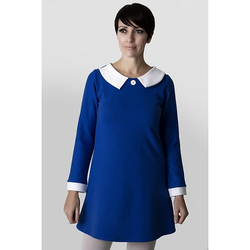 Sherry's 60's Vintage Blue dress w/ white collar/cuffs