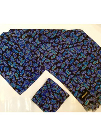 Sherrys Pure Silk POCKET SQUARE Electric Blue Paisley