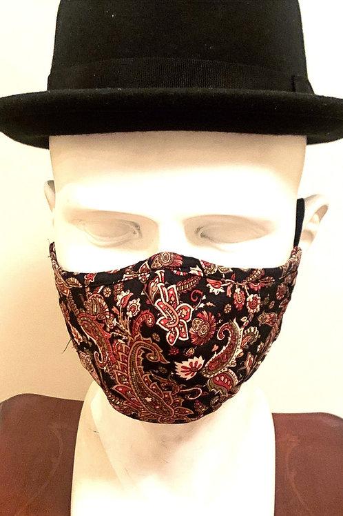 Face Mask Black/ Orange / Brown Paisley