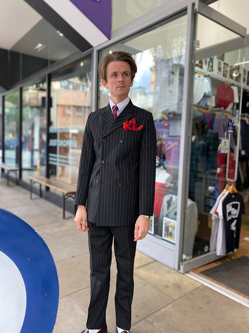 Sherry's Black Pinstripe Double Breasted Suit