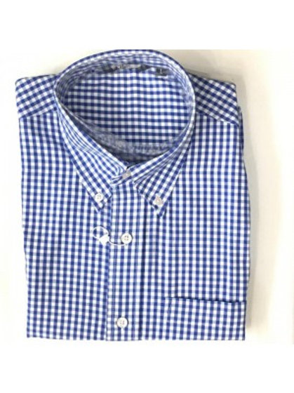 Classic Short Sleeve Gingham Shirt - Blue