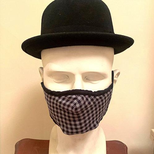 Face Mask : Black / Grey Gingham Check
