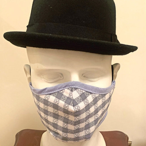 Face Mask : Grey / White Gingham Check